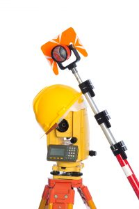 land surveyor equipment optical level in white background