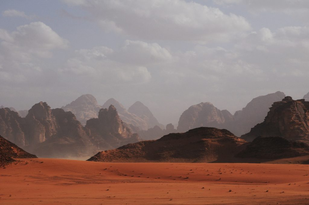a desert landscape reminiscent of Mars